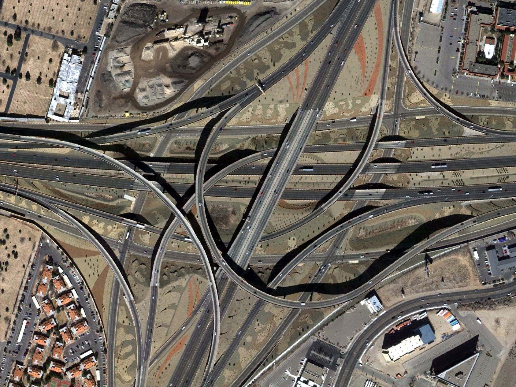 Aerial photograph of highway intersection